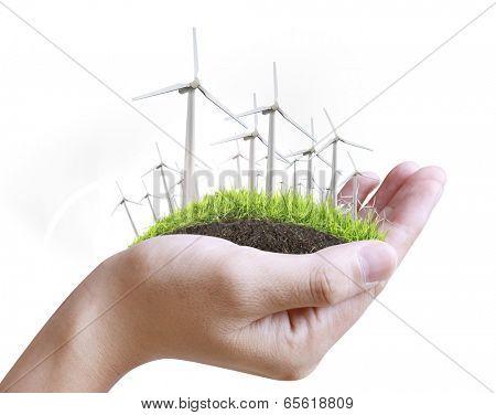 Wind turbine in a man hand