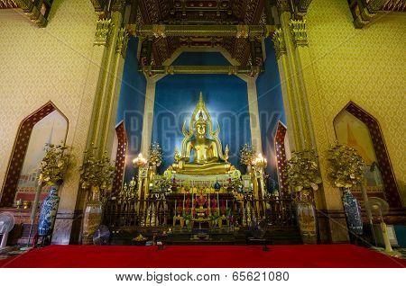 Bangkok, Thailand - May 25, 2014:The Ancient Bhudda at Wat Benjamabophit or The Marble Temple
