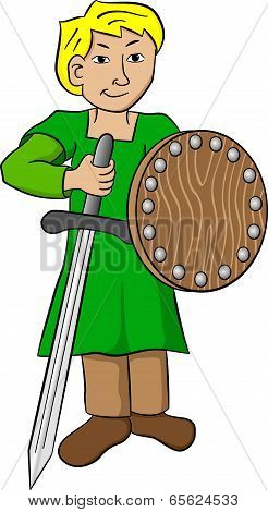 Squire With Sword And Shield