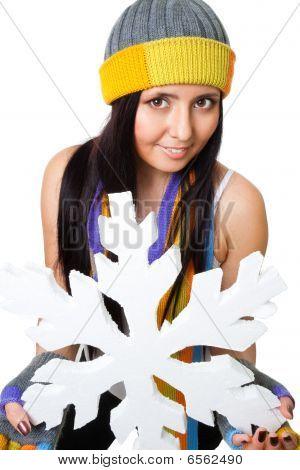 Woman Hold Huge Snowflake