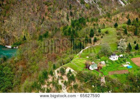 Small Village In Mountains. Montenegro.