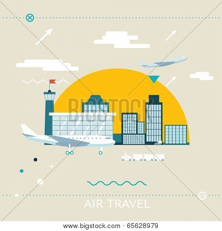 Travel Lifestyle Concept of Planning a Summer Vacation Tourism and Journey Symbol Airplane Airport C