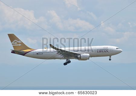 Libyan Airlines Airbus A330 Landing At Istanbul Ataturk Airport In Turkey (editorial)