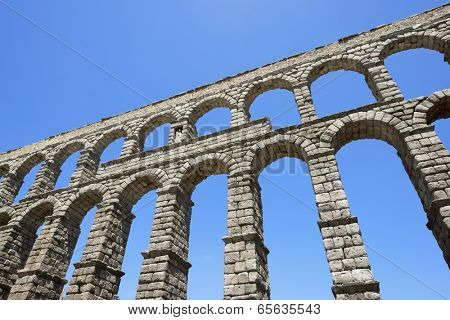 view of the aqueduct of Segovia, Castilla Leon, Spain