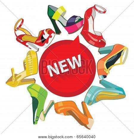 Colorful Fashion Women's High Heel Shoes.circle Composition.eps