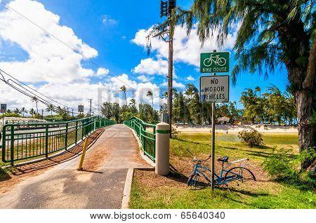 bridge and bike lane in Kailua, Oahu, Hawaii
