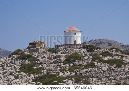 Traditional Greek Windmill In Symi