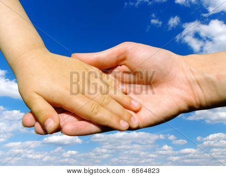 Child  Holds The Hand