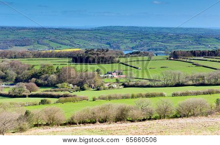 Mendip Hills view Somerset England UK towards Blagdon lake and Chew Valley