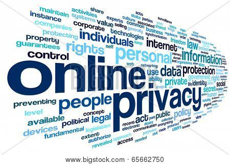 Online privacy policy in word tag cloud on white background poster