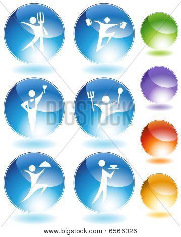 Eating  Crystal Icon Set
