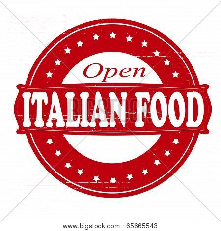Stamp with text Italian food inside vector illustration