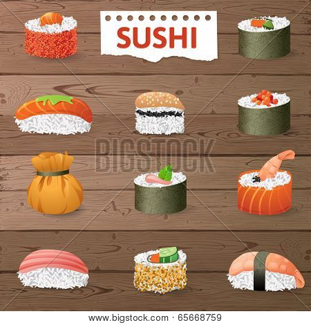 Great set of sushi variations over wooden background