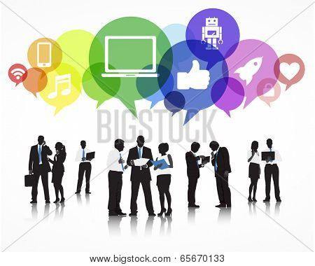 Silhouettes of Business People Working and Social Media Symbols