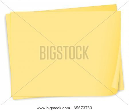 Illustration of an empty yellow paper template on a white background