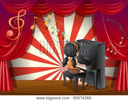 Illustration of a young pianist