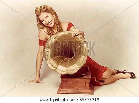 60S Pin Up Girl With Vintage Record Phonograph