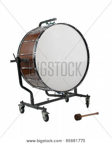 Old big bass drum the percussion of music band poster