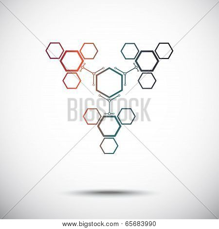 Connection Of Hexagonal Cells Gradient