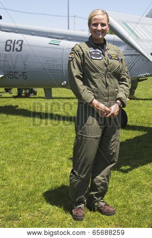 Unidentified helicopter pilot after mine countermeasures demonstration during Fleet Week 2014