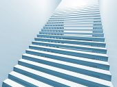 Abstract white 3d interior background with staircase poster
