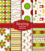 Bright set of sewing and needlework seamless patterns. Vector illustration. poster