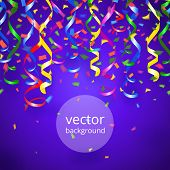 Vector party streamers and confetti on blue background poster