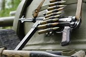 Submachine gun  tommy historical military still life. poster