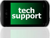 digital smartphone with tech support words business concept poster