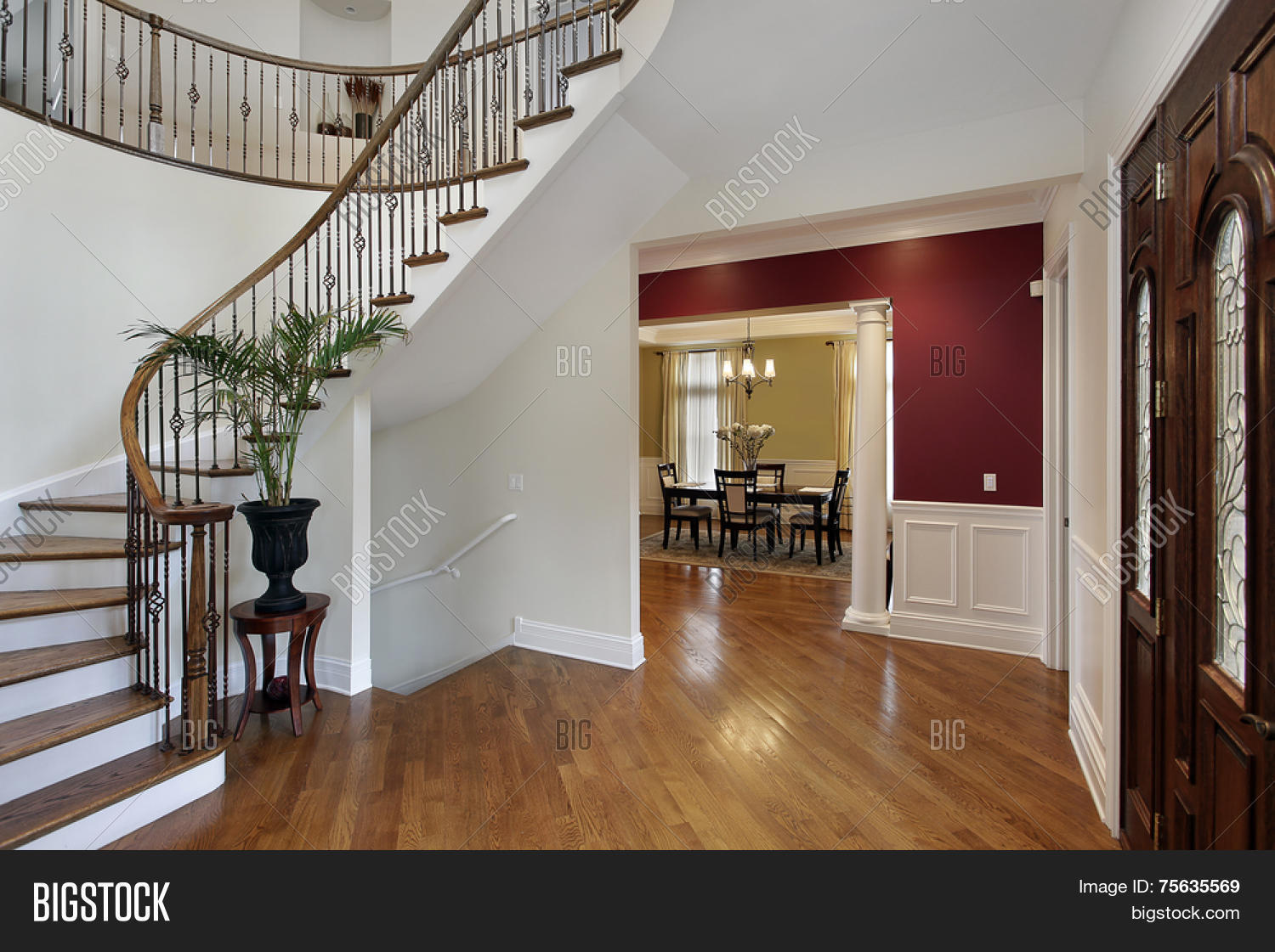 Luxury Home Foyer : Foyer luxury home curved staircase image photo bigstock