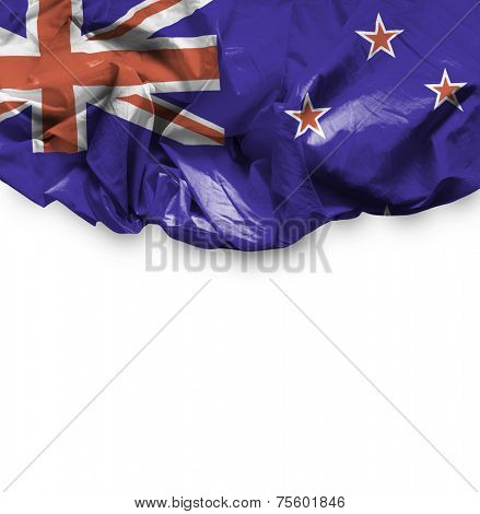 New Zealand waving flag on white background