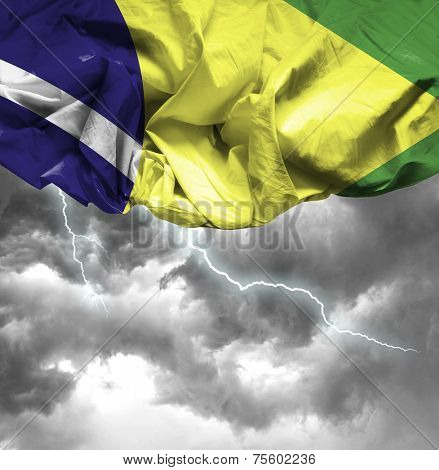 Brazil waving flag on a bad day