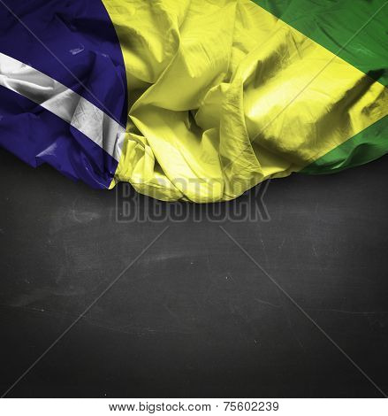 Brazil waving flag on blackboard