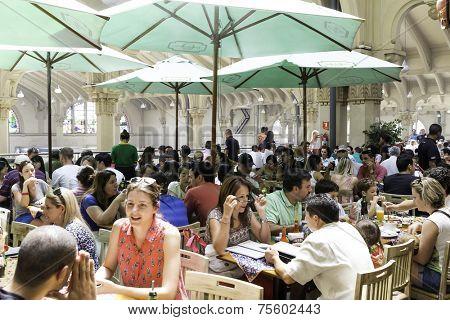 SAO PAULO, BRAZIL - CIRCA SEPTEMBER 2014: People eating at Municipal Market (Mercado Municipal) in Sao Paulo.