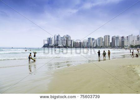 GUARUJA, BRAZIL - CIRCA OCTOBER 2014: People enjoying a hot day in Guaruja, Sao Paulo, Brazil.
