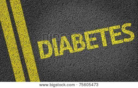 Diabetes written on the road
