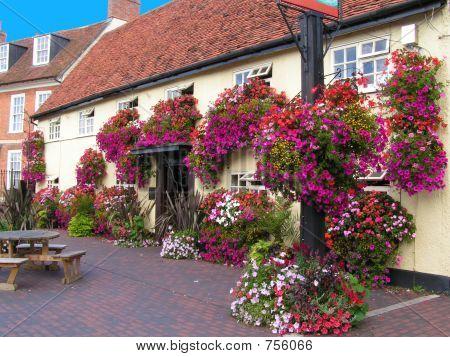 colourful floral English town pub