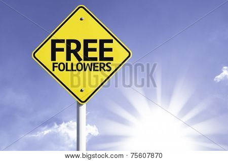 Free Followers road sign with sun background