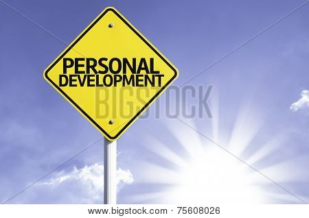 Personal Development road sign with sun background