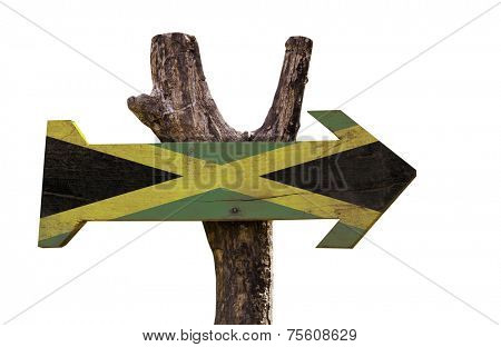 Jamaica wooden sign isolated on white background