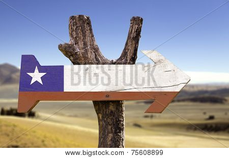 Chile wooden sign isolated on desert background