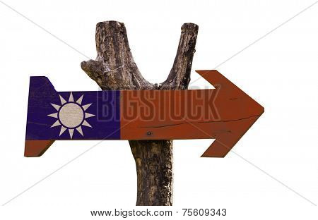 Taiwan wooden sign isolated on white background