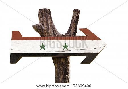 Syria wooden sign isolated on white background