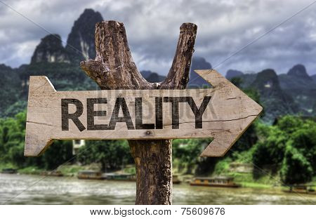 Reality wooden sign with a forest background