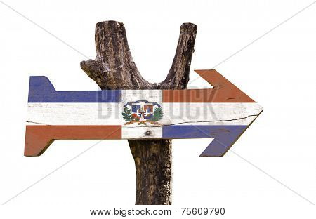 Dominican Republic wooden sign isolated on white background