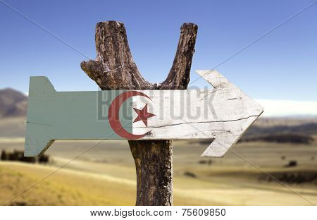 Algeria wooden sign with a desert background