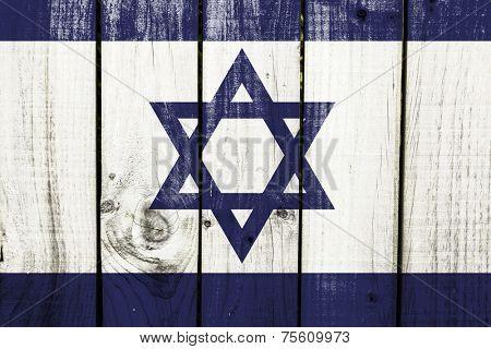 Israel flag on wooden background