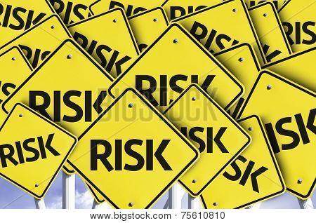 Risk written on multiple road sign