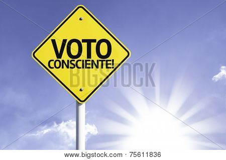 """""""Voto Consciente"""" (In portuguese - Vote conscientiously) sign with clouds and sky background poster"""