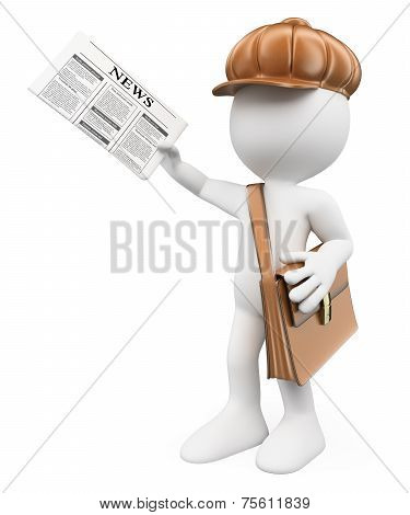 3D White People. Latest News Concept. Paperboy